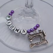 Singer Sewing Machine Personalised Wine Glass Charm